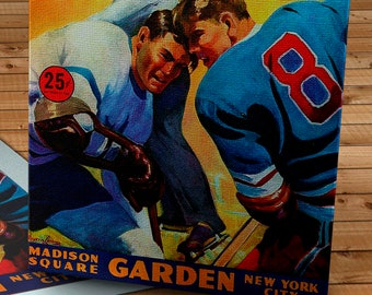 1958-1959 Vintage New York Rangers Hockey Program Cover - Canvas Gallery Wrap