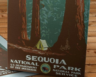1938 Vintage WPA Poster - Sequoia National Park - Canvas Gallery Wrap