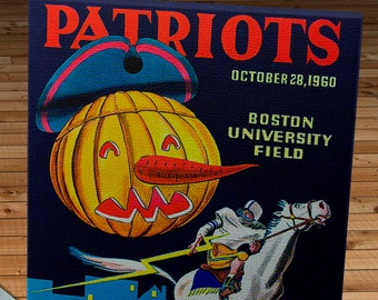 1960 Vintage Boston Patriots - Los Angeles Chargers Football Program - Canvas Gallery Wrap   #FB050