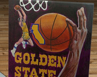 1974 -1975 Vintage Golden State Warriors Basketball Media Guide - Canvas Gallery Wrap   #BK006