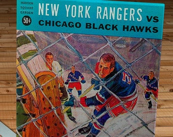 1964-1965 Vintage New York Rangers - Chicago Black Hawks Hockey Program - Canvas Gallery Wrap   #IH004