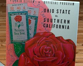 1955 Vintage Rose Bowl - USC Trojans - Ohio State Buckeyes Football Program - Canvas Gallery Wrap   #FB060