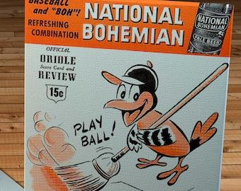 1955 Vintage Baltimore Orioles Program - Canvas Gallery Wrap   #BB178