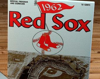 1962 Vintage Boston Red Sox Scorecard - Fenway Park - Canvas Gallery Wrap -  10 x 18