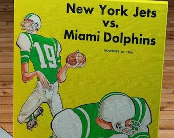 1966 Vintage Miami Dolphins - New York Jets -Boston Patriots Football Program Cover - Canvas Gallery Wrap