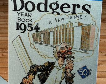 1954 Vintage Brooklyn Dodgers Yearbook Cover - Canvas Gallery Wrap