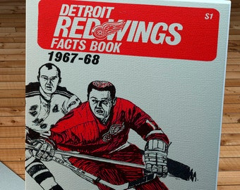 1967-1968 Vintage Detroit Red Wings Hockey Media Guide - Canvas Gallery Wrap -  10 x 16 #IH003