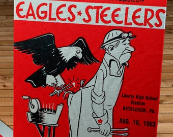 1963 Vintage Pittsburgh Steelers - Philadelphia Eagles Football Program Cover - Canvas Gallery Wrap