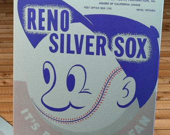 1959 Vintage Reno Silver Sox - California League Baseball Program Cover - Canvas Gallery Wrap