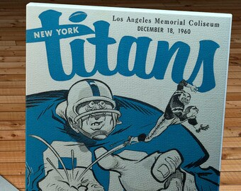 1960 Vintage New York Titans - Los Angeles Chargers Football Program - Canvas Gallery Wrap   #FB037