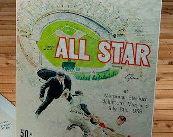 1958 Vintage Baseball All-Star Game Program - Canvas Gallery Wrap    #BB260