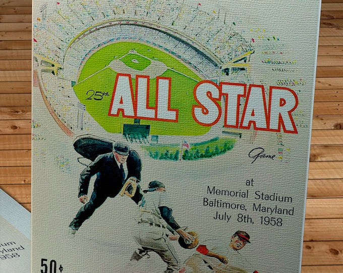 Featured listing image: 1958 Vintage Baseball All-Star Game Program - Canvas Gallery Wrap    #BB260