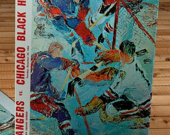 1966-1967 Vintage New York Rangers - Chicago Black Hawks Hockey Program - Canvas Gallery Wrap   #IH007