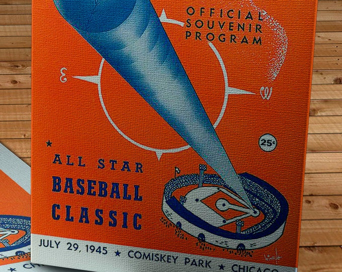 Featured listing image: 1945 Vintage Chicago White Sox - Comiskey Park All-Star Game Program  - Canvas Gallery Wrap  #BB0445