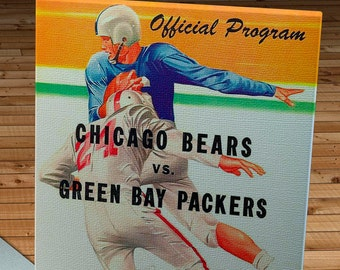 1956 Vintage Green Bay Packers - Chicago Bears Football Program - Canvas Gallery Wrap   #FB041