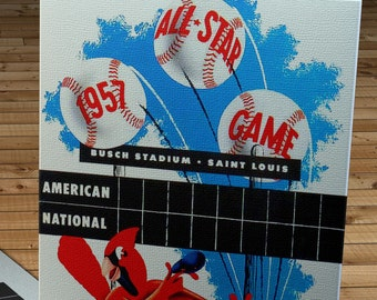 1957 Vintage St Louis Cardinals - All-Star Game Program - Canvas Gallery Wrap  #BB479