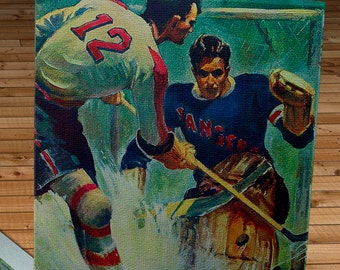 1940-1941 Vintage New York Americans - New York Rangers Hockey Program - Canvas Gallery Wrap   #IH001