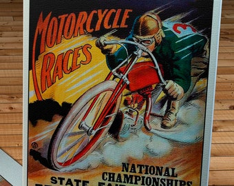 1926 Vintage Motorcycle Racing Program - National Championship -  Canvas Gallery Wrap   #MS015