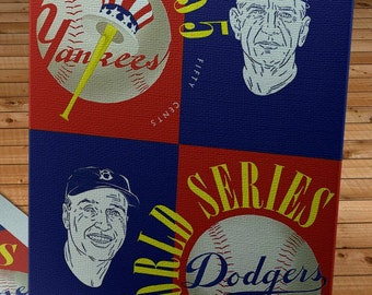 1955 Vintage New York Yankees - Brooklyn Dodgers World Series Program Cover - Canvas Gallery Wrap
