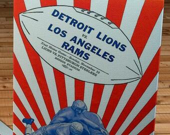 1946 Vintage Los Angeles Rams - Detroit Lions Football Program Cover - Canvas Gallery Wrap