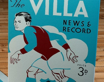 1949 Vintage Aston Villa - Manchester United English Football Program Cover - Canvas Gallery Wrap - 10 x 16