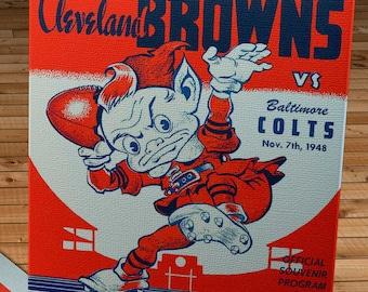 1948 Vintage Baltimore Colts - Cleveland Browns - Football Program Cover - Canvas Gallery Wrap