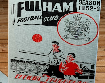 1953 Vintage Fulham Football Club - Swansea Town English Football Program Cover - Canvas Gallery Wrap - 12 x 20
