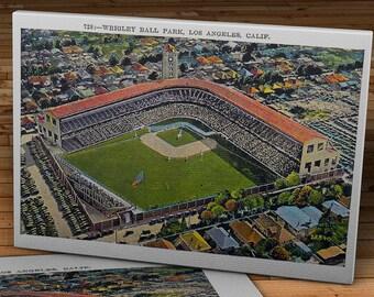 1937 Vintage Los Angeles Wrigley Field Postcard - Canvas Gallery Wrap   #BB142