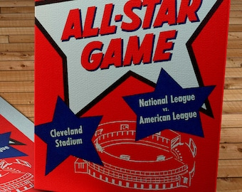 1954 Vintage Cleveland Indians - All Star Game Program - Canvas Gallery Wrap   #BB040