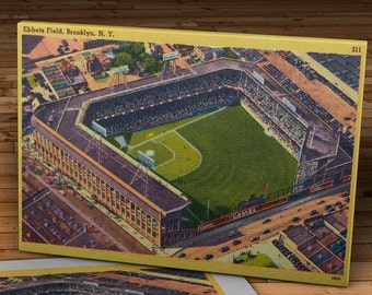 1955 Vintage Brooklyn Dodgers Ebbets Field Postcard - Canvas Gallery Wrap   #BB106