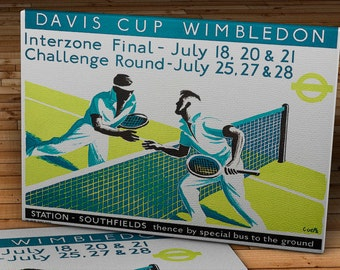 1936 Vintage Wimbledon Tennis Poster - Canvas Gallery Wrap -  14 x 11 #TN002