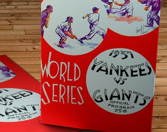 1937 Vintage Yankees vs Giants World Series Program - Canvas Gallery Wrap -  12 x 14 #BB015