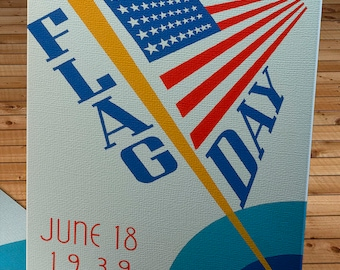1939 Vintage WPA Poster - Flag Day - Canvas Gallery Wrap -  10 x 16
