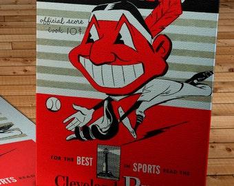 1950 Vintage Cleveland Indians Baseball Program - Canvas Gallery Wrap    #BB068