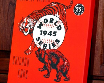1945 Vintage Detroit Tigers - Chicago Cubs World Series Program - Canvas Gallery Wrap   #BB059