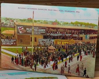 1909 Vintage Brochert Field (Athletic Park) - Milwaukee, Wisconsin Post Card - Canvas Gallery Wrap - 16 x 10  #BB224