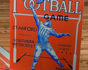 1936 Vintage Rose Bowl - Stanford  - Southern Methodist Football Program - Canvas Gallery Wrap
