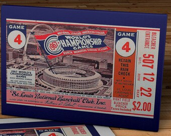 1967 Vintage St. Louis Cardinals World Series Ticket  - Canvas Gallery Wrap - 11 x 18 #BB041