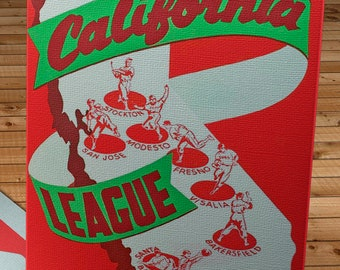 1949 Vintage California League Baseball Program Cover - Canvas Gallery Wrap