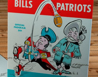 1963 Vintage Buffalo Bills - Boston Patriots Football Program Cover - Canvas Gallery Wrap
