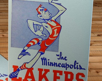 1947- 1948 Vintage Minneapolis Lakers Basketball Press Guide - Canvas Gallery Wrap