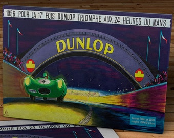 1956 Vintage Dunlop French Racing Poster   - Canvas Gallery Wrap -  20 x 10 #MS006