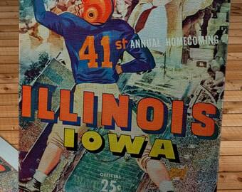 1951 Vintage Iowa Hawkeyes - Illinois Illini Football Program Cover - Canvas Gallery Wrap