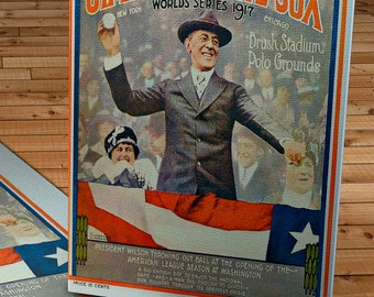 1917 Vintage New York Giants - Chicago White Sox World Series Program - Canvas Gallery Wrap -  12 x 14 #BB087