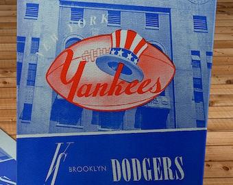 1947 Vintage New York Yankees - Brooklyn Dodgers Football Program - Canvas Gallery Wrap