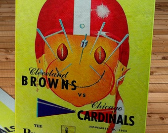 1953 Vintage Chicago Cardinals - Cleveland Browns Football Program Cover - Canvas Gallery Wrap
