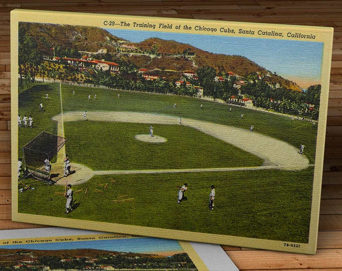 Featured listing image: Vintage Chicago Cubs Postcard - Spring Training on Catalina Island - Canvas Gallery Wrap - 16 x 10