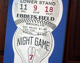 Brooklyn Dodgers Vintage Ticket Stub - Canvas Gallery Wrap - 12 x 20 #BB007