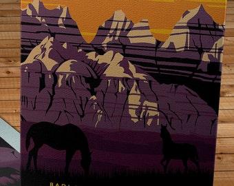 Vintage WPA Poster - See America - Badlands - Canvas Gallery Wrap   #WP012