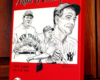 1949 Vintage New York Yankees - Night of Champions Program - Canvas Gallery Wrap   #BB031